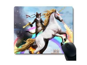 MP0003 Funny Cute Cat Dressed as Rambo with Gun Riding a Glowing Red Eyes Fire Breathing Unicorn Mouse Pad