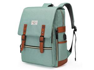 Upgraded Teal Vintage Laptop Backpack College School Bookbag for Women Men Slim Travel Laptop Backpack with USB Charging Port Computer Bag Casual Rucksack Daypack Green