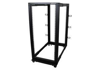 com 25U Open Frame Server Rack 4 Post Adjustable Depth 22 to 40 Network Equipment Rack w Casters Levelers Cable Management 4POSTRACK25U