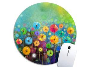 Cute Gaming Mouse Pad Watercolor Nature Landscape Floral Desk MousepadSmall Mouse Pads for Computers LaptopRound Mouse Mat Colorful Flowers Spring Personalized