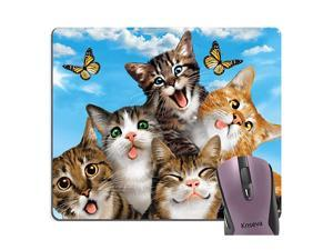 Funny Cats Selfie Mouse Pad, Cute Kitten Butterfly Blue Sky Mouse Pads