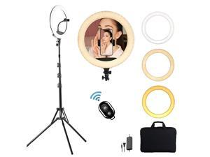 LED Selfie Ring Light with Tripod Stand and Phone Holder for Live Stream Dimmable Makeup Light Ring with Tripod TikTok YouTube Video Photography Compatible for iPhone Android