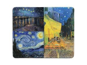 Art Mousepad Natural Rubber Mouse Pad Printed with Vincent Van Gogh Paintings of Night Art Collage Stitched Edges 95x79 inches