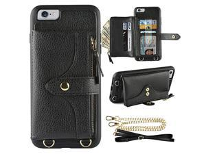 Wallet Case Compatible with iPhone 6 Plus, iPhone 6S Plus Case Wallet Card Holder Case with Wrist Chain Crossbody Strap Zipper Case for iPhone 6 Plus/iPhone 6S Plus, 5.5 inches-Black