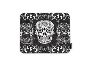 Skull Mouse Pad Day of The Dead Sugar Skull Rose Eye Black and White Flowers Mouse Mat NonSlip Rubber Base Mousepad for Computer Laptop PC Gaming Working Office Home 95x79 Inch