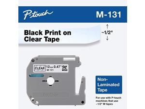 Genuine PTouch M131 Tape 12quot 047quot Standard Ptouch Tape Black on Clear for Indoor Use Water Resistant 262 Feet 8M SinglePack