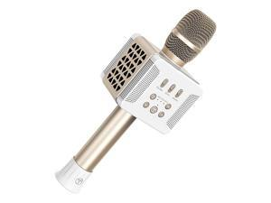 016 Wireless 20W Bluetooth Karaoke Microphone,3-in-1 Portable Handheld Karaoke Mic Home Party Birthday Speaker Machine Compatible for Smartphone/Android/iso System/Tablet/PC(Gold)