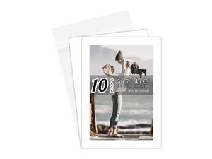 Acid Free, Pack of 10 5x7 White Picture Mats Mattes with White Core Bevel Cut for 4x6 Photo + Backing + Bags