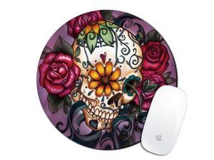 Flower Skull Custom Mouse Pad Gaming Mat Keyboard Pad Waterproof Material NonSlip Personalized Round Mouse pad 78x78x008Inch