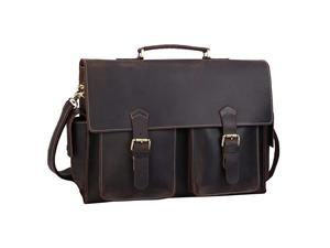 Mens Solid Full Grain Thick Cowhide Leather 173 Laptop Messenger Briefcase Bag Tote with YKK Zippers