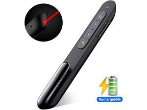 Rechargeable Presentation Clicker 100FT Wireless Presenter Remote Hyperlink Volume Control PowerPoint Clicker Presentation Remote 24GHz USB Presentation Pointer for Mac Laptop Computer