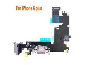 OEM Charging Port Dock Connector Flex Cable wMicrophone + Headphone Audio Jack Port Ribbon Replacement Part Compatible for iPhone 6 Plus All Carriers BlackSpace Gray