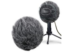 Furry Windscreen Muff - Customized Pop Filter for Microphone, Deadcat Windshield Wind Cover for Improve Blue Snowball iCE Mic Audio Quality (Grey)