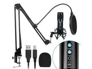 USB Microphone for Computer with Noise Reduction Mute Key Mic Gain Echo Knob PC Microphone Kit with Adjustable Metal Arm Stand Great for Gaming Podcast LiveStreaming Recording Black