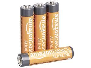 Basics 4 Pack AAA High-Performance Alkaline Batteries, 10-Year Shelf Life, Easy to Open Value Pack