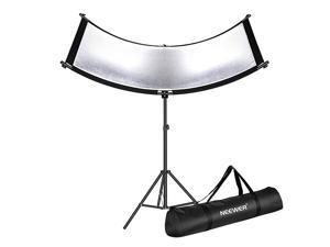 Clamshell Light Reflector with Carry Bag and 2M Light Stand 66x24 Inch Arclight Curved Eyelighter Lighting Reflector for Portrait Studio and Photography BlackWhiteGoldSilver