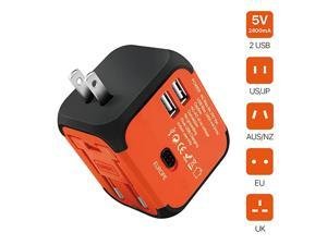 International Universal Power Adapter Converter with 2 USB Charging Ports All in One Travel Worldwide Plug Builtin Spare Fuse AC Socket Wall Outlet for US EU UK AU CN 150 Countries Orange