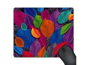 Colorful Leaves Print Art Mouse Pad Rectangle Mat Abstract Vintage Leaf Painting Artwork Mouse Pads