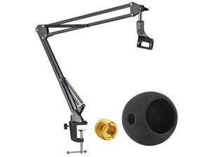 Blue Snowball Mic Boom Arm with Foam Windscreen Suspension Boom Scissor Arm Stand with Pop Filter Cover for Blue Snowball iCE Microphone by