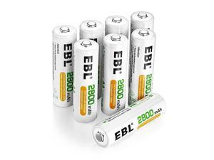 Pack of 8 AA Batteries 2800mAh High Capacity Precharged NiMH AA Rechargeable Batteries
