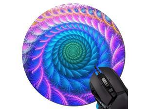 Mouse Pad Peacock Feather Trippy Pattern Round Mouse Pad NonSlip Rubber Mousepad Office Accessories Desk Decor Mouse Pads for Computers Laptop