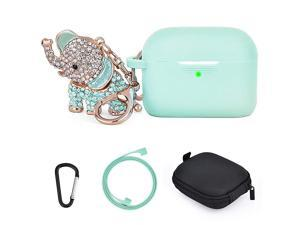 Airpods Pro Case Cover Keychain Cute Set Girls Women 5 in 1 Silicone Protective Case with Bling Elephant KeychainStorage Box Compatible for Apple Airpods Pro 2019Mint Green