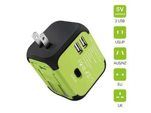 International Universal Power Adapter Converter with 2 USB Charging Ports All in One Travel Worldwide Plug Builtin Spare Fuse AC Socket Wall Outlet for US EU UK AU CN 150 Countries Green