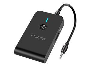 Bluetooth 50 Audio Transmitter Receiver 2 in 1 Wireless 35mm Adapter AptX Low Latency for TVHome Sound System Wired Speaker and Headphones Black