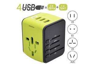 Adapter Universal Power Adapters with 1 Type C 3 USB Charging Ports and EU UK AUS US Plug All in One Wall Charger Fast 24A100240V Worldwide Voltage Plugs ConverterGreen