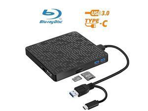 in 1 External Bluray DVD Drive USB30TypeC Blu Ray Drive Player Slim Optical CD DVD Drive Burner with SDTF Card Reader2 USB30 Hubs for Windows XP7810 MacOS LinuxMacBook Laptop Desktop