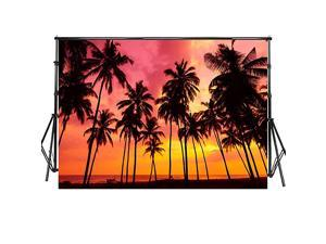 10x65ft Summer Seaside Sunset Photo Booth Backdrop Palm Trees Silhouettes on Tropical Beach Photography Background for Wedding Moana Theme Birthday Party Portraits Photo Booth PropWP125