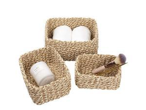 JOLIE MUSE Woven Storage Baskets Recycled Paper Rope Bin Organizer Divider for Cupboards Drawer Closet Shelf Dresser Set of 3 Yellow White