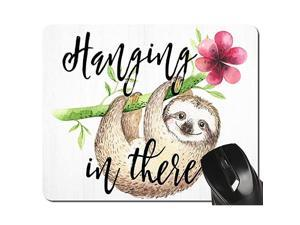 Lovely Sloth Mouse Pad Hanging in There Green and Pink Floral Watercolor Mousepad 95 X 79 Inch 240mmX200mmX3mm