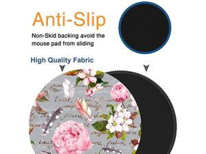 Round Mouse Pad NonSlip Rubber Base Mouse Pads Cute Mat Size 79 x 79inch Comfortable Office and Home Gaming Mouse Pad for Computer Desktops PC Laptop Pink Grey Flower