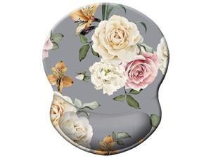Ergonomic Mouse Pad with Gel Wrist Rest Support Art Design Blooming Rose Wrist Rest Mouse Mat Pain Relief Floral Mousepad for Office Home Computer Laptop Women NonSlip PU Base Gray Flower