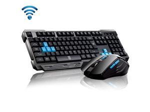 Keyboard Mouse CombosWaterproof Multimedia 24GHz Wireless Gaming Keyboard with USB Cordless Ergonomic Mouse DPI Control For Desktop PC LaptopBlack