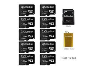Micro SD Memory Cards Bulk Pack 10Pack 128MB with MicroSD Adapter + SD CardReader