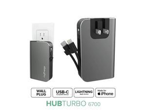 Portable Charger for iPhone Built in Cable USB C Power Bank Fast Charging Hub Turbo 18W 6700mAh Lightning Type C Wall Plug External Battery Pack Backup for Apple Android 36 Hrs Power
