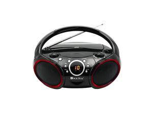 Portable CD Player AM FM Analog Tuning Radio with Aux Line in Headphone Jack Foldable Carrying Handle Black with a Touch of Red Rims