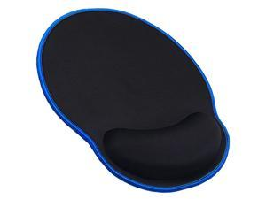 Mouse Pad with Wrist Rest Support Stitched Edges Durable Ergonomic Gaming Mousepad Black with Blue Edges