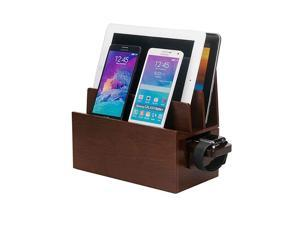Wood Charging Station Compatible Adapter for Apple Watch Combo Multi Device Organizer for Apple Watch Smartphones Tablets Laptops and More