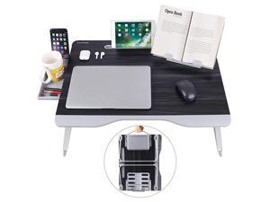 Laptop Bed Table XXL Bed Trays for Eating Laptops Writing Study and Drawing Laptop Desk for Bed Sofa and Couch Folding Laptop Standwith Portable Book Stand and Drawer Storage by