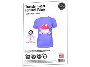 Inkjet Printable IronOn Heat Transfer for Dark Fabrics 85 x 11 inch 50 Sheets