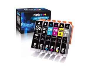 E-Z Ink (TM) Compatible Ink Cartridge Replacement for Canon PGI-250XL PGI 250 XL CLI-251XL CLI 251 XL to use with PIXMA MG5620 (1 Large Black, 1 Cyan, 1 Magenta, 1 Yellow, 1 Small Black,1 Gray) 6 pack