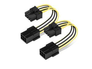 2 Pack 6-Pin PCIe to 8-Pin PCIe Adapter Power Cable - 4 Inches