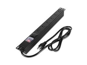 """KUEEN 19"""" 1U Rack Mount Power Distribution Unit PDU,Rack Power Strips,6 outlets,6ft Cord,1U/15A/125V,Aluminum Alloy with switches"""