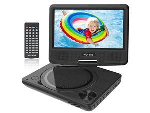 95 Portable DVD Player for Kids Travel DVD CD Player for Car with 75 inch Swivel Screen Remote Control USB SD Card Reader Support Last Memory and Regions Free Black