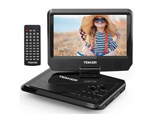 11 Portable DVD Player with 95 Swivel Screen Builtin Rechargeable Battery and SD Card Slot USB Port Upgraded Version