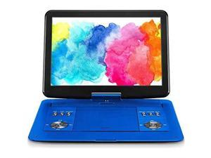 168 Portable DVD Player with 141 Large HD Screen 6 Hours Rechargeable Battery Support USBSD CardSync TV and Multiple Disc Formats High Volume Speaker Blue