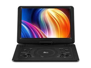 179 Portable DVD Player with 154 Large HD Screen 6 Hours Rechargeable Battery Support USBSD CardSync TV and Multiple Disc Formats High Volume Speaker Black
